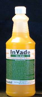 InVade™ Bio Drain™ is a specialized drain cleaner which utilizes premium natural microbes and citrus oil. Its thickened formula clings to the sides of drains while eating through scum and eliminating odors.