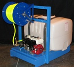 "PCS Spray Tank -  50 gal. tank, Cox hose reel, Hypro pump, Honda 5.5 engine, 300 feet 3/8"" hose  -  W 37""  -  L 48""  -  H 42"""